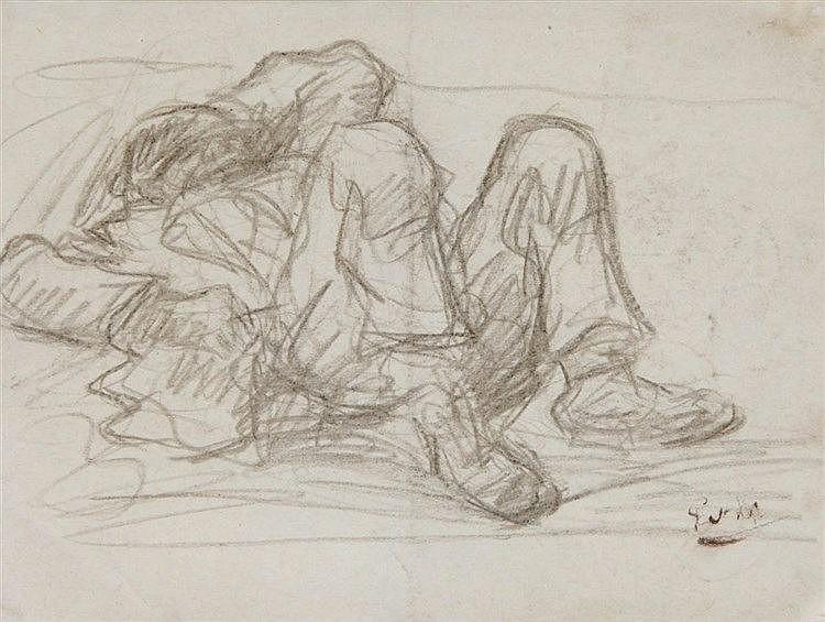 EUGEEN VAN MIEGHEM (1875-1930) Waiting to leave. Brown pencil. Initial