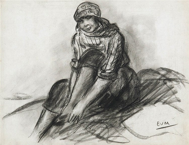 EUGEEN VAN MIEGHEM (1875-1930) Sewing girl. Charcoal. Initials. Framed