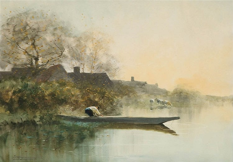 MAURICE HAGEMANS (1852-1917) Fisherman on a boat at sunset. Pastel. Si