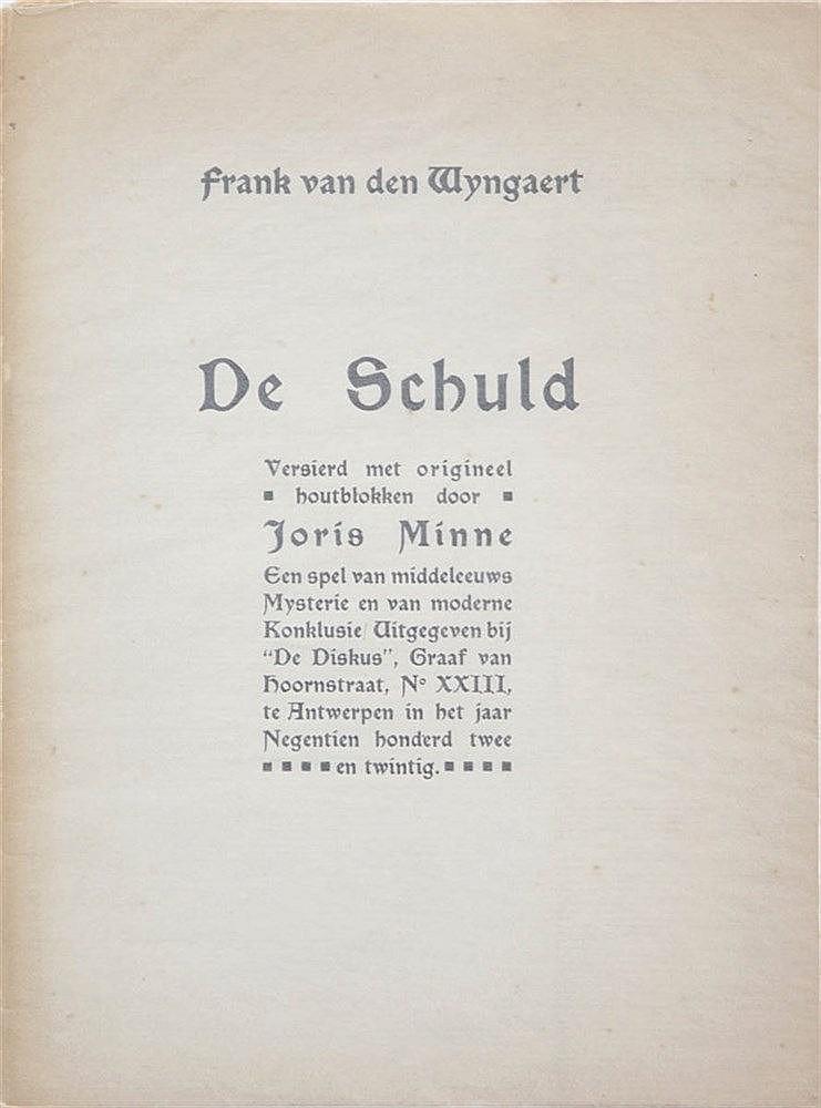(Minne) Frank van den Wijngaert, De Schuld. Versierd met origineel houtblok