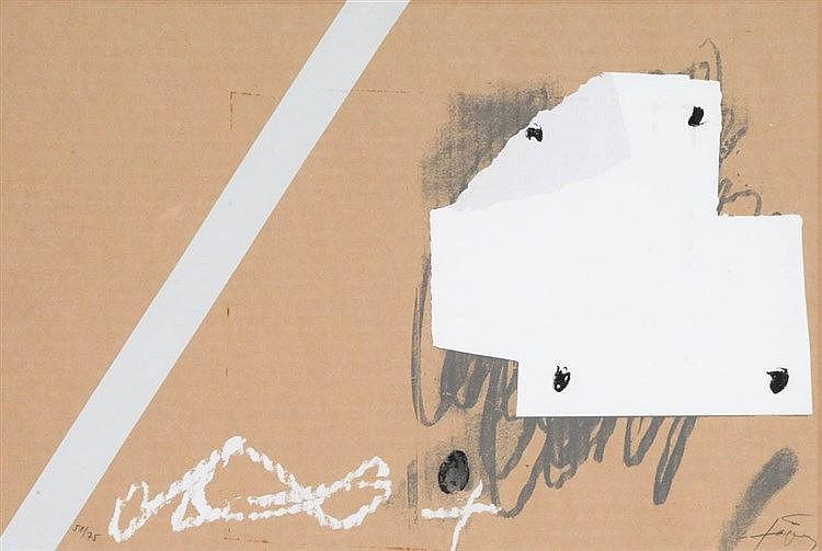 ANTONI TAPIES (1923-2012) Untitled. Screenprint on cardboard. Mounted
