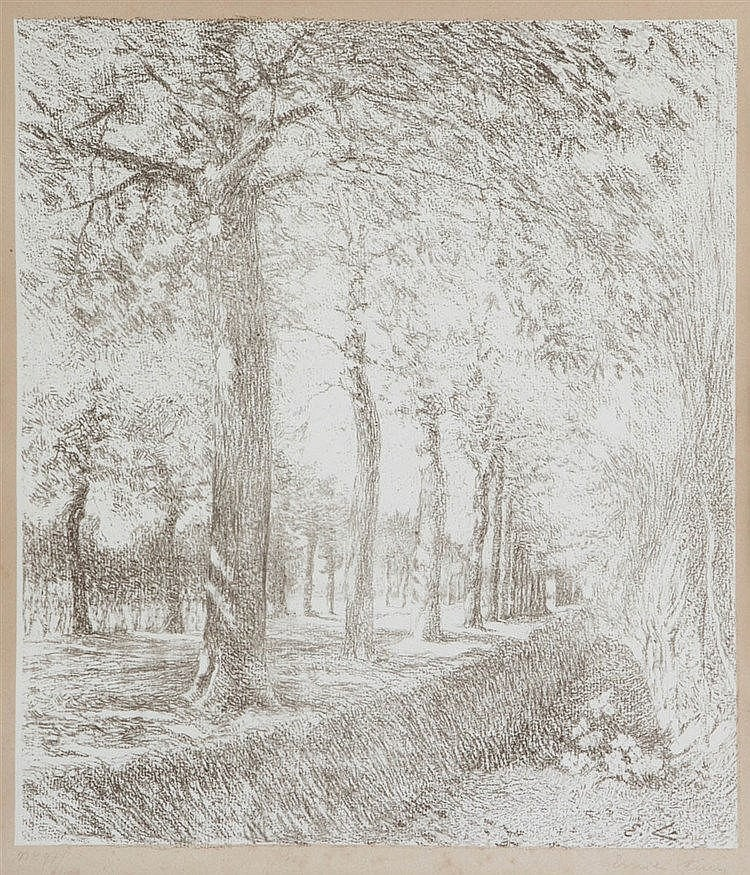 EMILE CLAUS (1849-1924) The grand road. Lithograph on applied Chinese