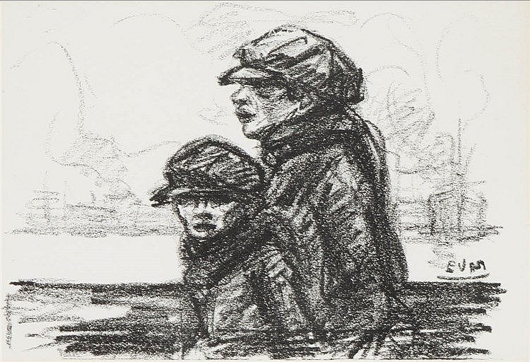 EUGEEN VAN MIEGHEM (1875-1930) Little boys. Lithograph. Initials in th
