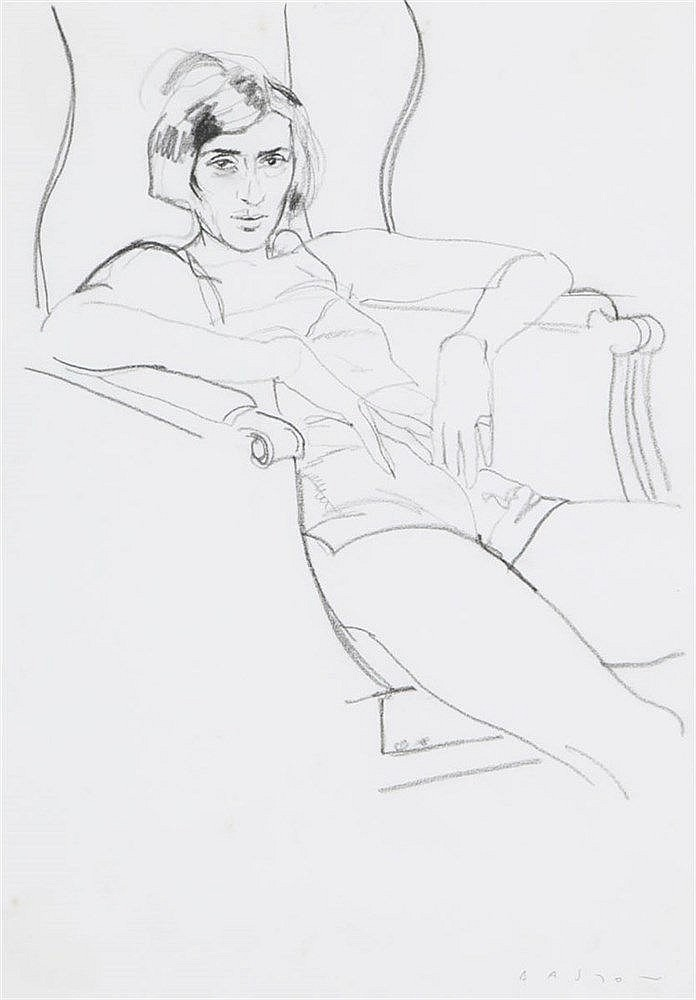 MICHAEL BASTOW(1943) Seated lady. Black pencil. Signed. Framed.