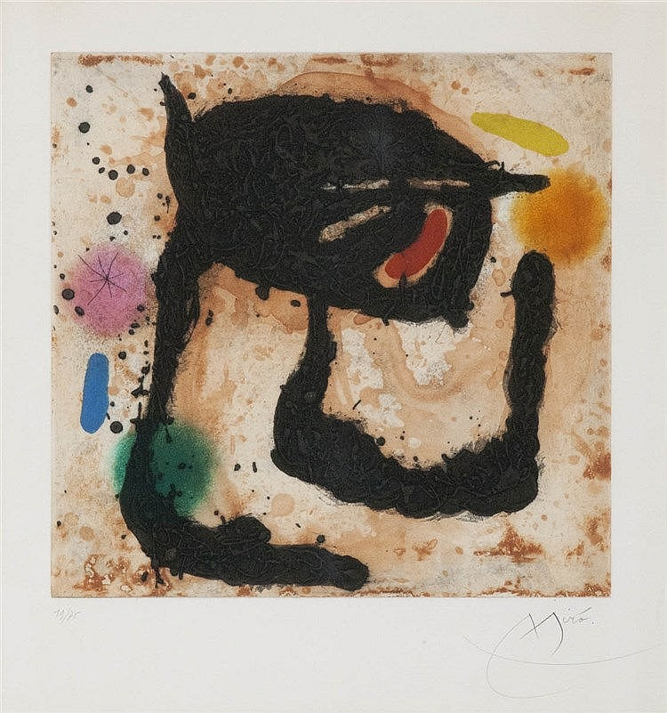 JOAN MIRO (1893-1983) Colour aquatint and carborundum. Signed and numb