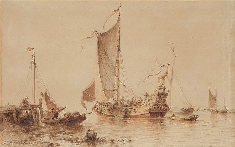 JOHANNES HILVERDINK (1813-1902) Coastal view. Brown ink and watercolou