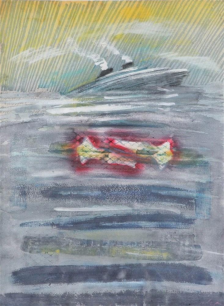 CHRISTIAN ROLET(1945) Boat. Colour crayon. Signed 'Rolet'. Framed.