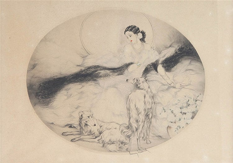 LOUIS ICART (1888-1950) Lady with dogs. Dry point and aquatint, height