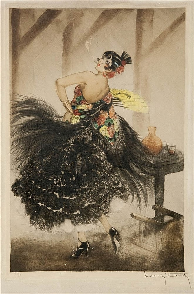 LOUIS ICART (1888-1950) Spanish dancer. Dry point, aquatint, heightene