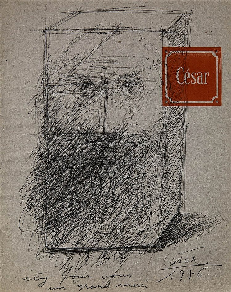 CESAR BALDACCINI (1921-1998) Head. Black felt tip pen. Signed and date