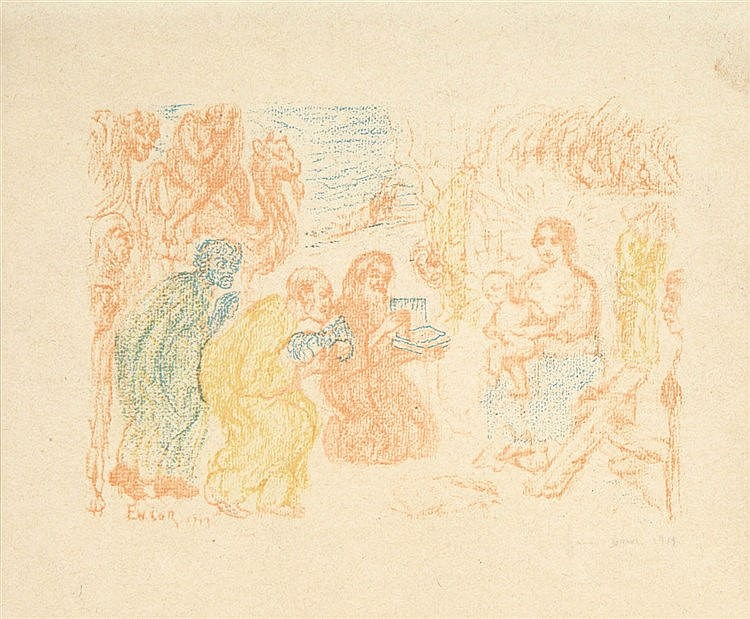 JAMES ENSOR (1860-1949) Adoration of the shepherds. Lithograph. Signed
