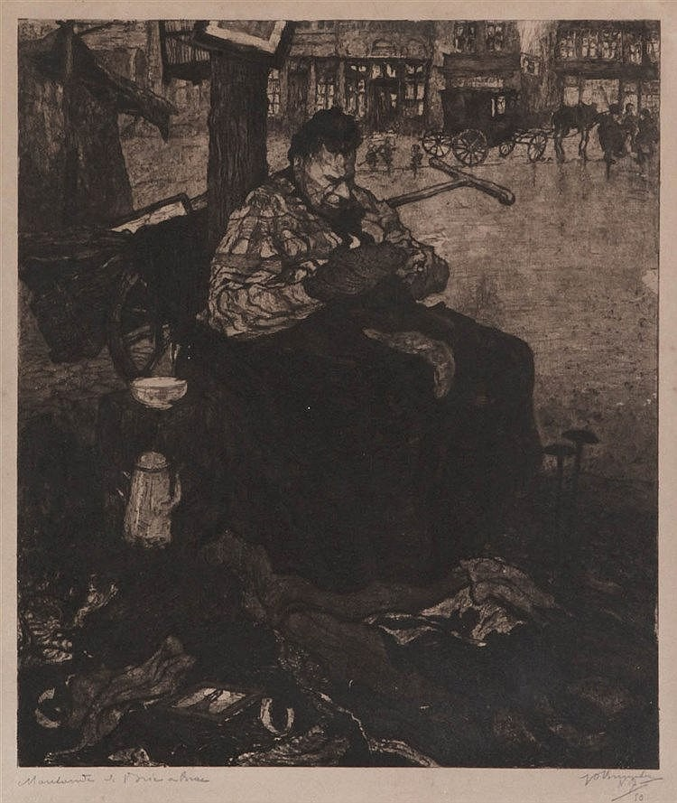 JULES DE BRUYCKER (1870-1945) Etching. Signed, numbered and titled. Sh