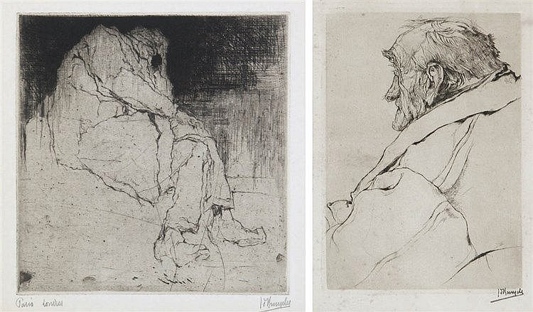 JULES DE BRUYCKER (1870-1945) Two dry points. Both signed and titled.