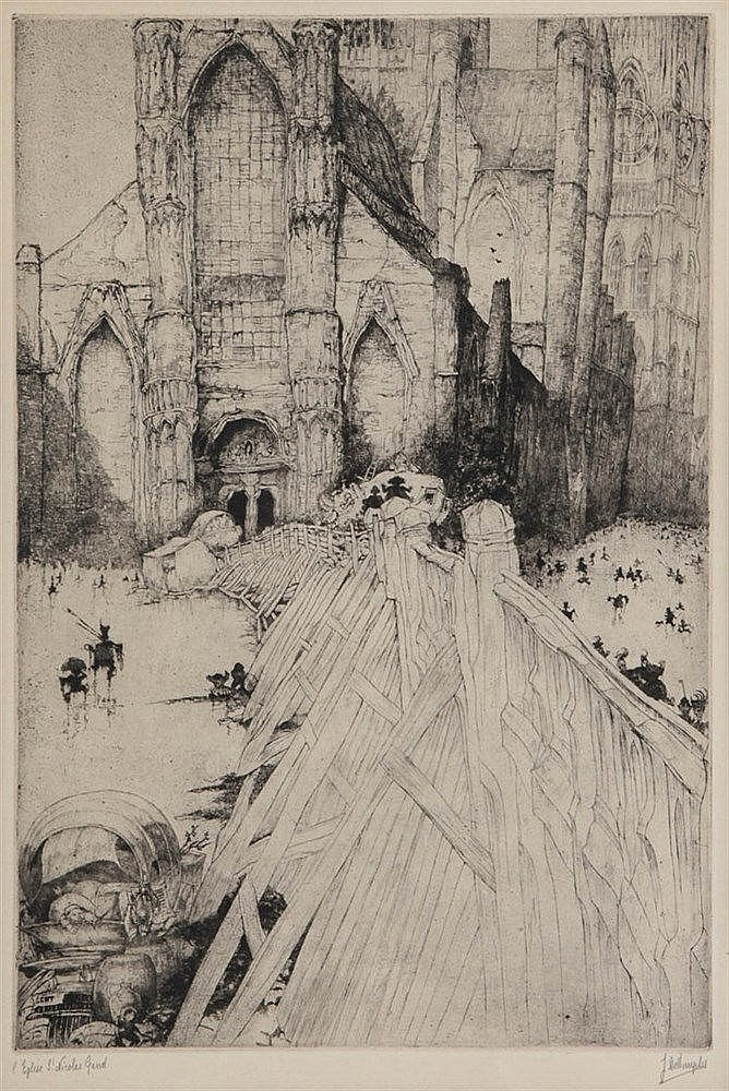 JULES DE BRUYCKER (1870-1945) Etching on simili-Japan. Signed and titl