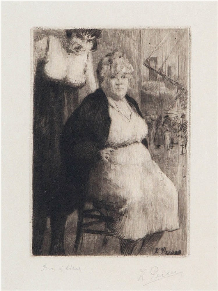 KURT PEISER (1887-1962) Seated lady. Dry point and roulette on simili-