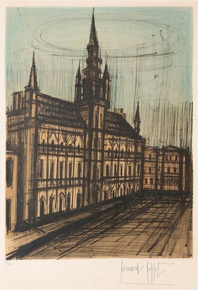 BERNARD BUFFET (1928-1999) Townhall Brussels. Colour lithograph. Signe