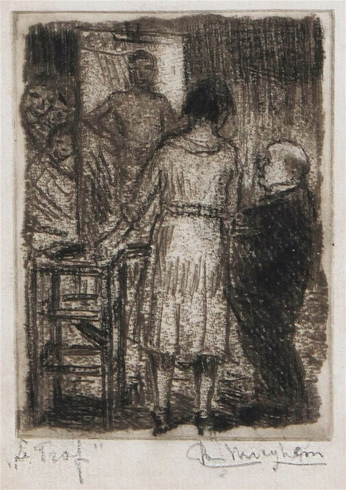 EUGEEN VAN MIEGHEM (1875-1930) Etching, soft ground etching. Signed in