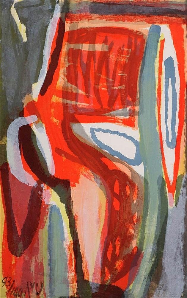 BRAM VAN VELDE (1895-1981) Composition. Colour lithograph. Initials an