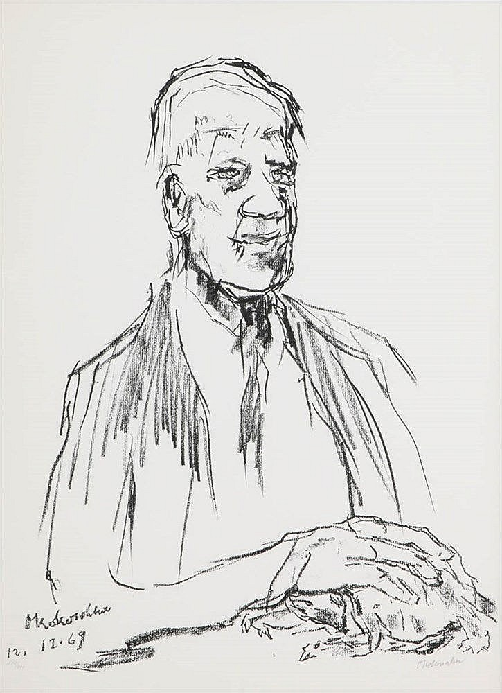 OSKAR KOKOSCHKA (1886-1980) Selfportrait. Lithograph. Signed and dated