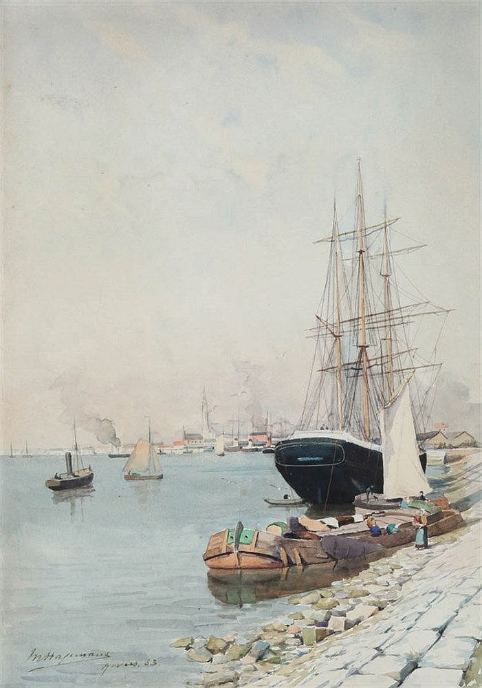 MAURICE HAGEMANS (1852-1917) At the Antwerp docks. Watercolour. Signed