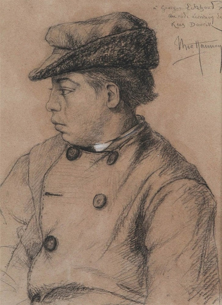 THEO HANNON (1851-1916) Young guy with cap. Colour pencil. Signed. Wit