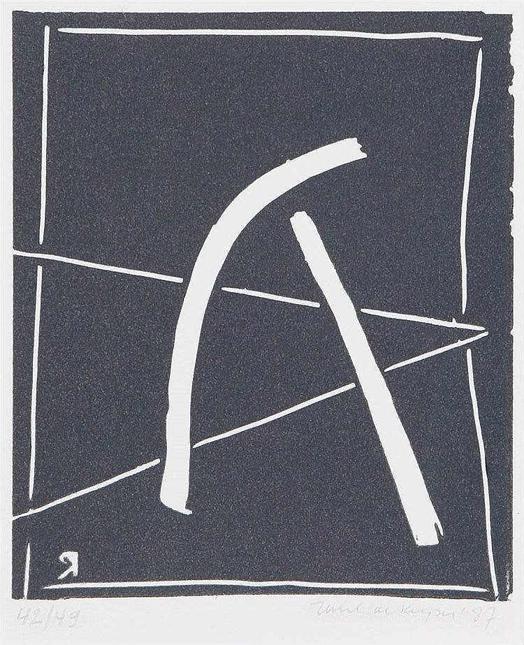 RAOUL DE KEYSER (1930-2012) Composition. Linocut. Signed, dated and nu