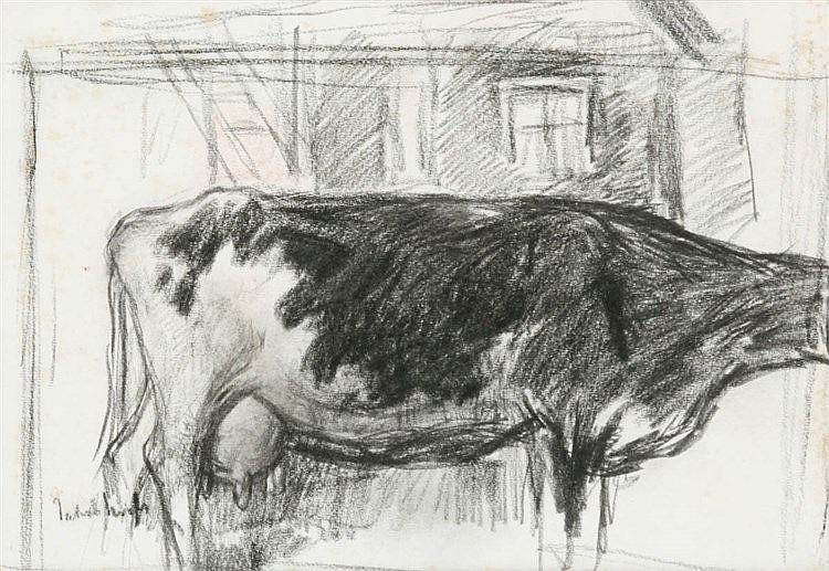 JAKOB SMITS (1855-1928) Cow in the stable. Black pencil. Signed. Frame