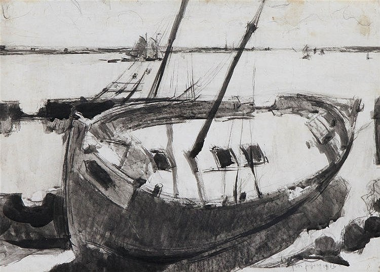 FLORIS JESPERS (1889-1965) Stranded boat. Chinese ink. Signed and date