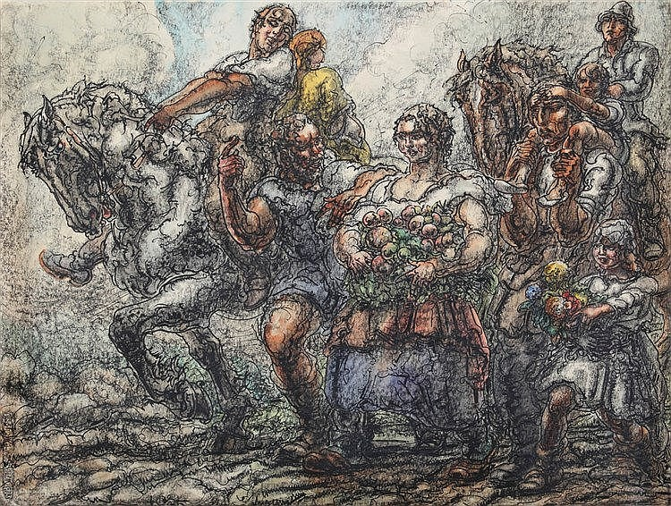 ALFRED OST (1884-1945) Harvest. Chinese ink, heightened with watercolo