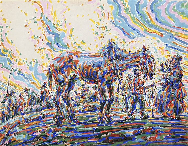 ALFRED OST (1884-1945) At the horse market. Crayon, watercolour and go