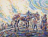 ALFRED OST (1884-1945) At the horse market. Crayon, watercolour and go, Alfred Ost, €300