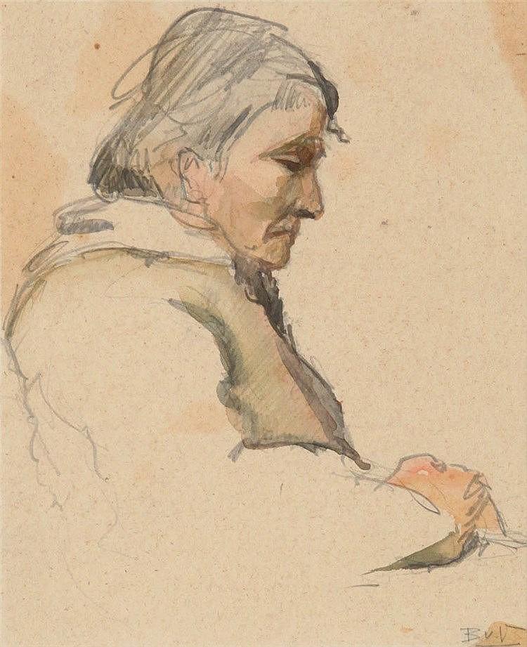BRAM VAN VELDE (1895-1981) Artist's mother. Pencil and watercolour. In