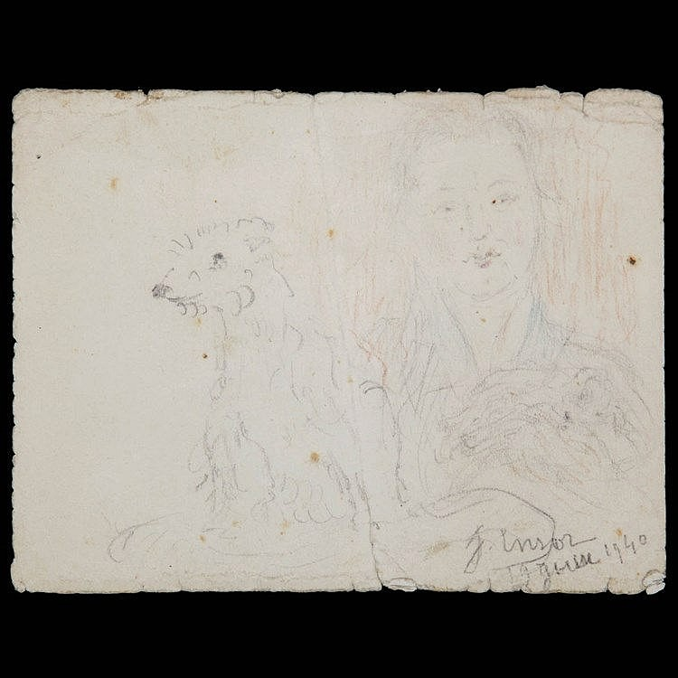 JAMES ENSOR (1860-1949) Woman with dog. Signed and dated. Framed.