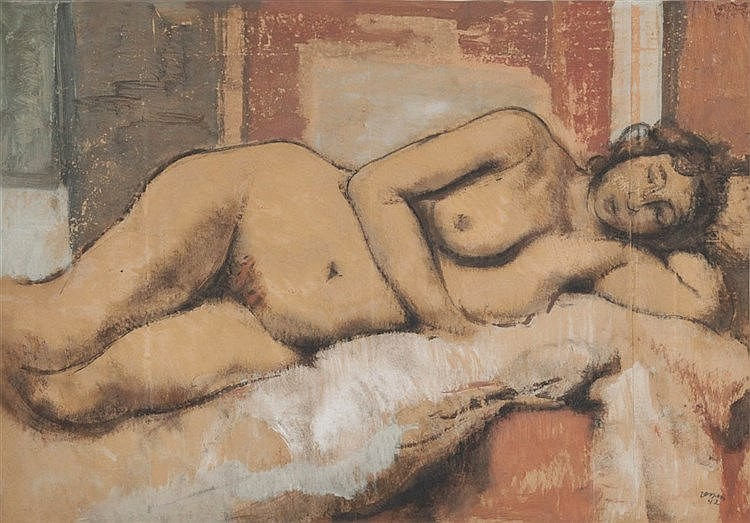 FLORIS JESPERS (1889-1965) Reclining nude. Charcoal, oil and gouache o