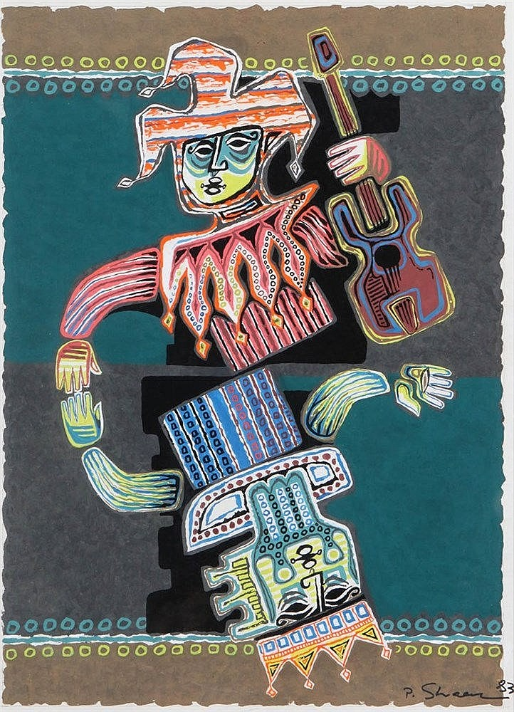 PINCHAS SHAAR (1923-1996) Guitar player. Gouache. Signed and dated. In