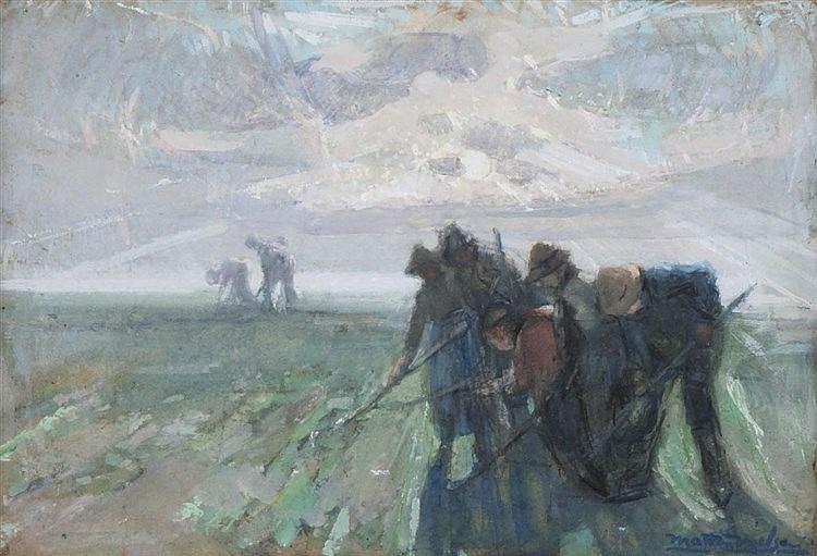 MARTEN MELSEN (1870-1947) Gouache. Signed. Framed.  450 x 640 mm