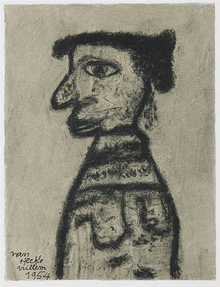 WILLEM VAN HECKE (1893-1976) Figure in profile. Charcoal. Signed and d