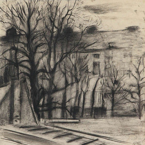 MARC MENDELSOHN (1915-2013) City view with railway. Charcoal. Signed a
