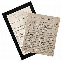 (Meunier - Van Rysselberghe) Constantin Meunier. Deux lettres à Théo Van Ry