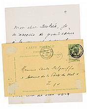 (Eekhoud) Lettre de Georges Eekhoud à Jules Destrée. 2pp. sur une double fe