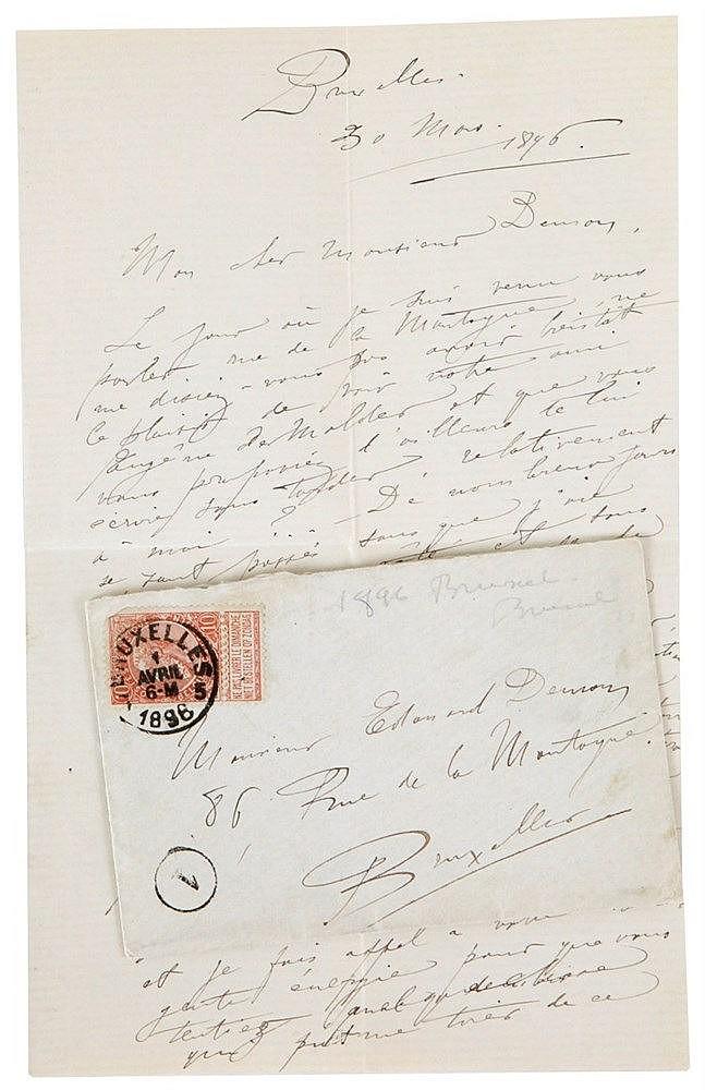 (De Groux) Lettre aut. signée de Henry de Groux à Edmond Deman. 4pp.  sur d