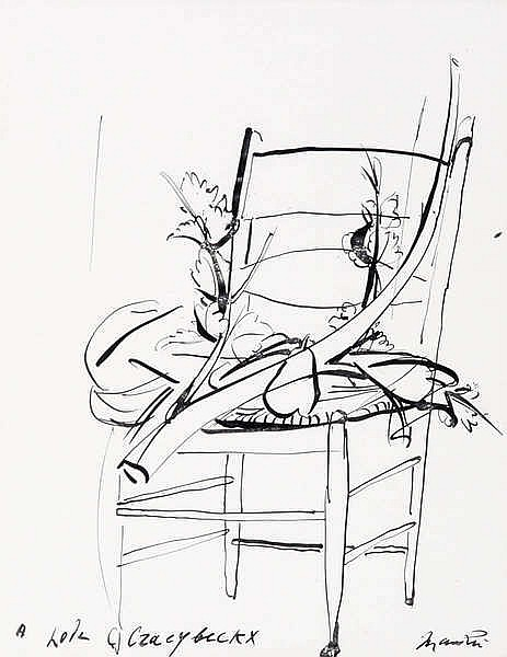 GIACOMO MANZU (1908-1991) Composition with chair. Chinese ink. Signed.