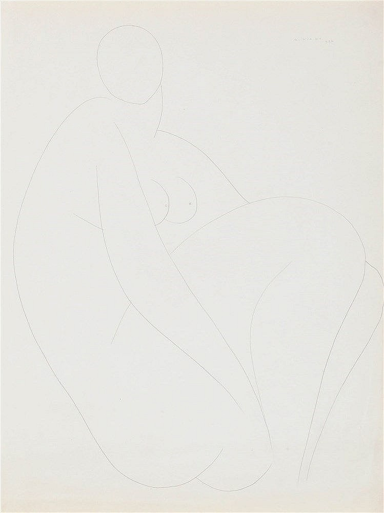 ALBERTO VIANI (1906-1989) Seated nude. Pencil. Signed and dated. Frame