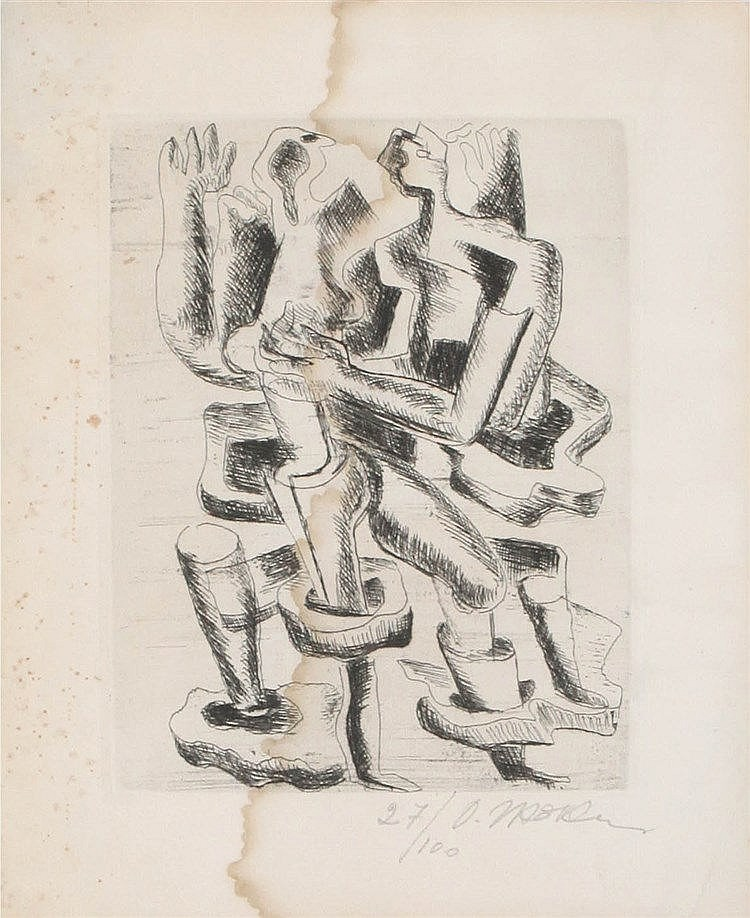 OSSIP ZADKINE (1890-1967) Two figures. Etching. Signed and numbered. W