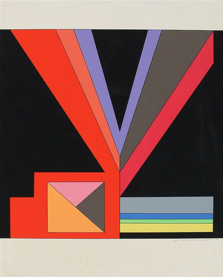 GUY VANDENBRANDEN(1926) Composition. Screenprint. Signed, dated and nu