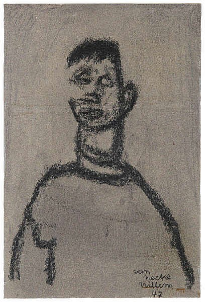 WILLEM VAN HECKE (1893-1976) Male figure. Charcoal. Signed and dated.