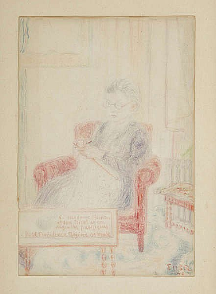 JAMES ENSOR (1860-1949) Colour crayon. Signed, dated and with handwrit