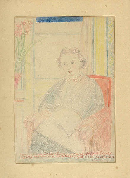 JAMES ENSOR (1860-1949) Portrait of Carla Hansen. Colour crayon. Signe