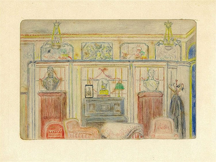 JAMES ENSOR (1860-1949) Interior of Mr and Mrs Hansen. Colour crayon.