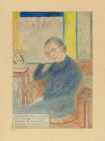 JAMES ENSOR (1860-1949) Portrait of Mrs Hansen. Colour crayon. Signed